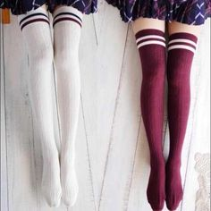‼FLASH SALE! White over the knee socks White over the knee socks. Double striped. Can be worn scrunched down as boot socks too! Accessories Hosiery & Socks