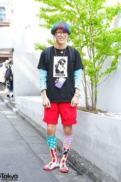 i like the panda earring ... Kanata, 18 years old, student | 3 June 2014 |  #Fashion #Harajuku (原宿) #Shibuya (渋谷) #Tokyo (東京) #Japan (日本)