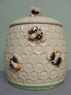 Vintage Honey Comb with Bees Cookie Jar Japan