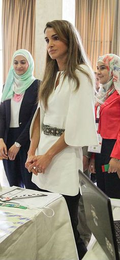 sept. 8, 2014 Queen Rania Al Abdullah checks on youth projects at the I Know Business (IKB) award competition day. Amman, Jordan/ September 8, 2014
