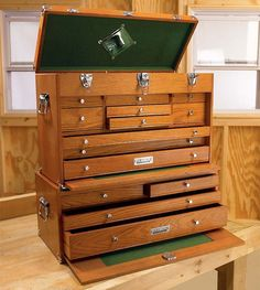 Keep Your Easy-to-Lose Garage Gear in a Cool, Wooden Tool Chest - Petrolicious Wood Tool Box, Wooden Tool Boxes, Wood Tools, Woodworking Organization, Woodworking Box, Woodworking Projects, Gerstner Tool Chest, Machinist Tool Box, Tool Storage Cabinets