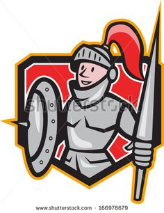 Illustration of knight in full armor with lance and shield facing front set inside shield done in cartoon style. - stock vector #knight #cartoon #illustration