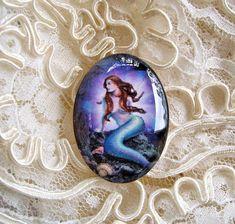 Blue Mermaid 30X40mm Glitter Unset Handmade Art Bubble Cameo Cabochon #Handmade #Cameo