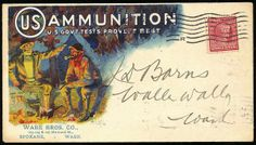 U.S. Ammunition. Multicolored illustrated design on 1909 cover showing Campfire Scene, franked with 2c Lincoln tied by Spokane, Wash. machin...