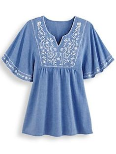 Morningstar Embroidered Chambray Top - The top you love, now in breezy cotton chambray! Beautifully embellished with embroidery along the front and flutter sleeves. My Shopping List, Chambray Top, Lounge Wear, Give It To Me, Bell Sleeve Top, Tunic Tops, Plus Size, Fashion Outfits, Casual