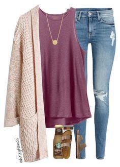 School, work, street casual, fall outfit - cream beige cardigan, purple tank, ripped jeans, birkenstock strap sandals arizona
