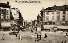 Place Denis-Dussoubs, perspective de la nouvelle gare d'Orléans et la statue - fin des années 1930  Carte postale - Archives départementales de la Haute-Vienne