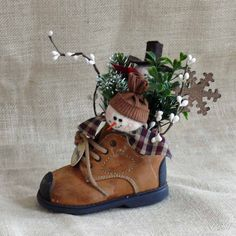 Small Snowman Baby Shoe Decoration by SnowmanCollector on Etsy, $11.00