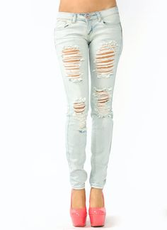 Skinny Ripped Jeans For Girls - Jon Jean
