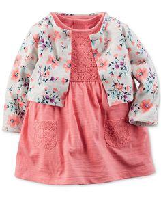 Bodysuit Dress & Cardigan Set O Baby Girl Dresses, Baby Dress, Dress Set, Little Girl Fashion, Kids Fashion, Womens Fashion, Outfits Niños, Fashion Outfits, Bodysuit Dress