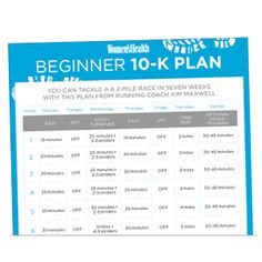 Print It: Beginner 10-K Training Plan  http://www.womenshealthmag.com/fitness/10k-training-schedule