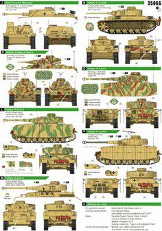 German Tanks in Italy 1943-44 (PzKpfw III M, StuG III G, PzKpfw IV G, PzKpfw IV H) - Bison Decals - | Kettenfahrzeug, Militär, Bemalung, Tarnung
