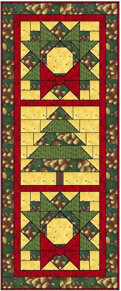 Free Pattern for a Christmas wreath and tree quilt. Could be a wall hanging or a table runner.