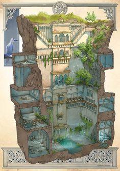 The forgotten temple of Guillaume Tavernier, # forgot - Modern Fantasy House, Fantasy Map, Fantasy Places, Fantasy Kunst, Fantasy World, Fantasy Castle, Environment Concept, Environment Design, Blog Art