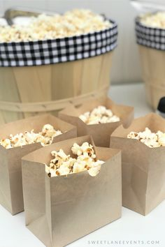 Individual brown to use for your Popcorn Bar. Shop now for a complete black & white gingham plaid Popcorn Bar! Complete set-up and supplies all you need is the popcorn and food. Got Party, Party In A Box, Wedding Popcorn Bar, Gingham Party, Popcorn Bags, Flavored Popcorn, All You Need Is, Sweet 16, Party Planning