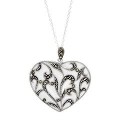 Heart Necklace With Genuine Marcasites Wonderful heart necklace with genuine marcasites in white enamel and 925 sterling silver. Total item weight 7.7g. Length 18inch. Gemstone info: marcasite with fancy shape and metallic color.