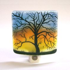 Night Light In Fused Glass Tree by CDChilds on Etsy