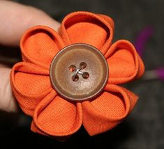 diy: semi-kanzashi style fabric flowers ...