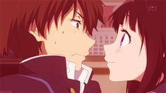 Oreki Houtarou and Chitanda Eru. Hyouka #gif                                                  I would probably do this....