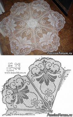 kira crochet scheme no 42 Crochet Patterns Filet, Crochet Bedspread Pattern, Crochet Motif, Crochet Doilies, Crochet Flowers, Crochet Lace, Lace Doilies, Mode Crochet, Fillet Crochet