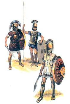 Etruscan warriors wore a lot of bronze protection for the heart area, spears and daggers.