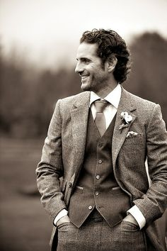 Tweed suit groom. Cool!