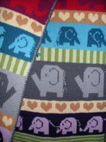 Reversible Elephant Blanket knitted by Beth Caulfield  Pattern: available for purchase at Sheep Thrills  Yarn: Ella Rae Classic Superwash