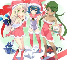 Lillie, Mallow, and Lana dressed as Santa | Pokémon Sun and Moon | Know Your Meme
