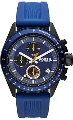 Fossil Watches, Men's Decker Chronograph Silicone Watch - Blue #CH2879