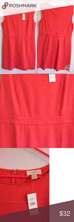 NWT Ann Taylor LOFT Coral Dress Sz 10P NEW With Tag Brand: Ann Taylor LOFT Size: 10 Petite Color: It was so hard to get this dress' true color to come off in a picture. Some may see it as a red, which it is NOT. It is a coral/pink, with slight slight hues of red and orange.  **The last picture shown shows more of its true color.  Fabric: 76% polyester, 20% rayon, 4% spandex.   Coming from a smoke free home. LOFT Dresses