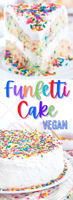 This delicious vegan funfetti cake is filled with vanilla flavor and plenty of rainbow sprinkles. So pretty and packed with flavor! #vegandessertrecipes #vegancakerecipes #veganfunfetticake #veganconfetticake #vegansummerdesserts Healthy Vegan Desserts, Vegan Dessert Recipes, Vegan Recipes Easy, Cookie Recipes, Circle Cake, Confetti Cake, Vegan Blogs, Rainbow Sprinkles, Vanilla Flavoring