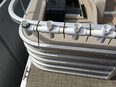 Homemade Rod Holders for Pontoon Boats . - Homemade Rod Holders for Pontoon Boats … - Fishing Pole Storage, Fishing Pole Holder, Fishing Reels, Bateau Diy, Pontoon Boat Accessories, Camping Accessories, Fishing Accessories, Boat Organization, Boat Rod Holders