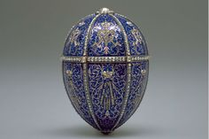 Faberge Egg;  The Twelve-Monogram Egg.    Probable date 1892, workmaster M. Perchin. Present location: Marjorie Merriweather Post Collection, Hillwood Museum, Washington, DC.