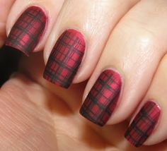 matte plaid nails