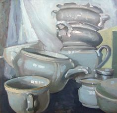 malarstwo porcelana Katarzyna Urbaniak compositions of porcelain still life paint plates kitchen