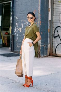 flowy top with white culottes
