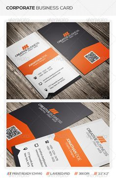 "Corporate Business Card  #GraphicRiver        Creative Corporate Business Card Template This creative corporate business card template is suitable for both business and personal usage. It's fast and easy to edit color and text. Need a different color? Customized your preferred color fast and easy with just a few click. More detailed instructions in readme file. Template Info   Photoshop PSD (Front & back)  Size 2"" x 3.5"" (2.25"" x 3.75"" with bleed)  Organized layers (Labeled & grouped)…"