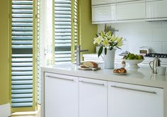 kitchen shuttters for patio doors The-California-Company-Classic-Poplar-Wood-Shutters-With-Privacy-Fit-Slats-In-Custom-Colour-Paint Window Shutters Uk, Kitchen Shutters, Interior Shutters, Wood Shutters, Wood Blinds, Blue Shutters, Kitchen Colors, Kitchen Design, Kitchen Ideas