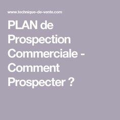 PLAN de Prospection Commerciale - Comment Prospecter ? Plane, Entrepreneur, Marketing, How To Make Money, How To Plan, Business, Communication, Sales Prospecting, Professional Development