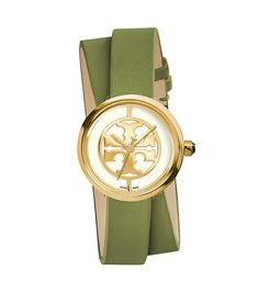 TORY BURCH Reva Double-Wrap Watch, Green Leather/Gold-Tone, 28 mm (=)