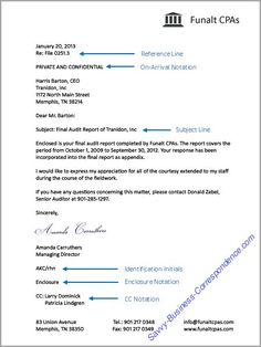 business letter with additional letter elements reference line on arrival notation subject