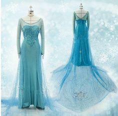 New Disney Movies Frozen Snow Queen Elsa Cosplay Costume Deluxe Dress Fancy