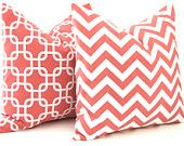 Decorative Pillows, Throw Pillow Covers, Accent Pillows 20 x 20 Inches Combo Pair Pillow Covers Coral on White