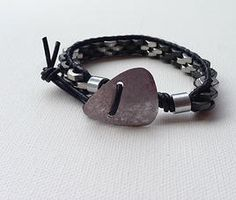 Hex Nut Bracelets for Men with a guitar pick closure by Mi