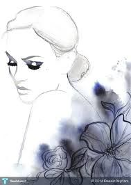 I want to paint this. Print from original watercolor, charcoal and pen fashion illustration by Jessica Durrant titled Evening Rapture Art And Illustration, Watercolor Illustration, Watercolor Portraits, Watercolor Paintings, Watercolor Texture, Watercolor Paper, Watercolor Fashion, Pics Art, Art Design