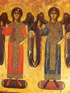 Icon of Archangels Michael and Gabriel, Saint Catherine's Monastery in Egypt… Archangel Gabriel, Archangel Michael, Byzantine Icons, Byzantine Art, Religious Icons, Religious Art, Saint Catherine's Monastery, Russian Icons, Angels Among Us