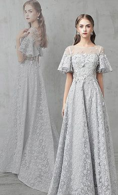 Unique Prom Dresses, Gray tulle lace long prom dress, gray evening dresses, There are long prom gowns and knee-length 2020 prom dresses in this collection that create an elegant and glamorous look Grey Evening Dresses, Unique Prom Dresses, Long Prom Gowns, Popular Dresses, Evening Gowns, Cute Dresses, Casual Dresses, Fashion Dresses, Formal Dresses