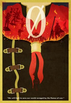 """Final Fantasy Type-0 Vintage Poster. """"We will fight to save our world, ravaged by the flames of war."""""""