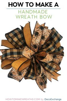 This quick tutorial will show you how to make a handmade bow for wreaths. - This quick tutorial will show you how to make a handmade bow for wreaths. Included is a step by step video on how to make a handmade wreath bow. Making Bows For Wreaths, How To Make Wreaths, How To Make Bows, Wreath Making, Making A Bow, Wreath Crafts, Diy Wreath, Wreath Bows, Ribbon Wreaths