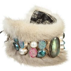 Pre-owned Rags & Stones Gray Mink, Labradorite, Pearl Bracelet ($180) ❤ liked on Polyvore